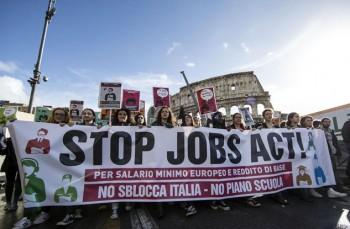 Manifestazione contro Jobs Act a Roma