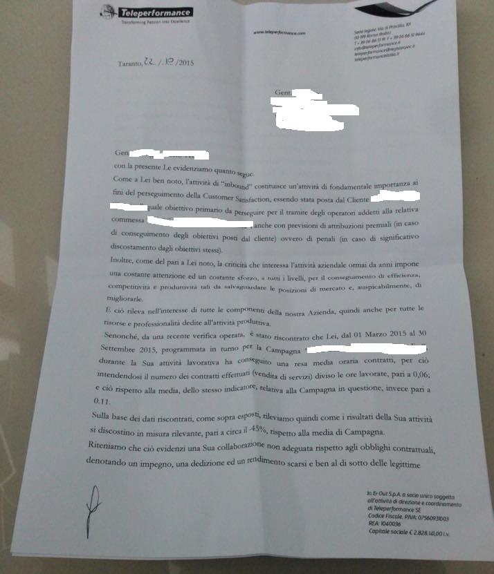 Lettera di contestazione